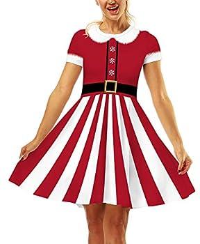 Ainuno Santa Dresses for Women Christmas Swing Dress Red Xmas Dress Ugly Funny Santa Stripes M