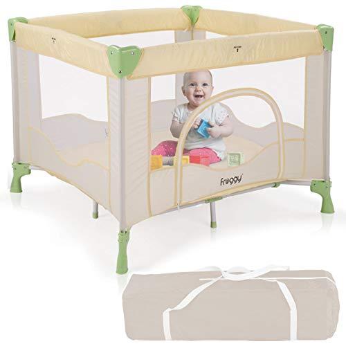 Froggy® Reisebett Laufstall Spielstall Kinderreisebett Kombi-Reisebett inkl. faltbare Unterlage Transporttasche zusammenklappbar Safari