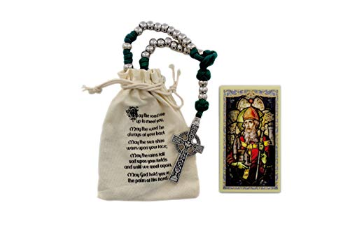Irish Celtic Paracord Rosary Large and Heavy Rugged Durable Rosary for Men with 8mm Silver Metal Beads 2' Celtic Cross and Printed Drawstring Bag. Includes Saint Patrick Holy Card with Irish Blessing