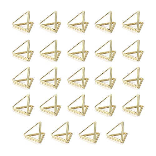 AIEVE Place Card Holders  24 Pack Triangle Shape Table Card Holders Wedding Table Number Holders Photo Holder Pictures Stand Clips for Place Cards Weddings Anniversary Party Office Desk Name  Gold