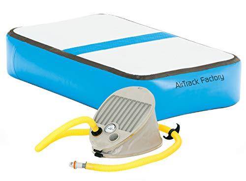 AirTrack Factory AirBlock Aufblasbarer Turnblock Tumblingblock Trainingsblock Trainigsmatte Sportblock Gymnatikblock mit Fußpumpe (Blau)