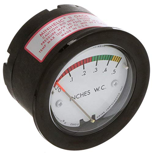 Best Deals! MINIHELIC II GAUGE:0-.5″ WC W/COLORBANDS; RED 0-.26; GRN .26-.42; YELLOW .42-.50