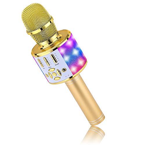 BONAOK Cambio di voce Microfono Karaoke, Microfono Bluetooth Karaoke Adulti, Microfono Sing 4 in 1, KTV Karaoke Player per Cantare, Compatibile con iPhone Mac Android (Oro)