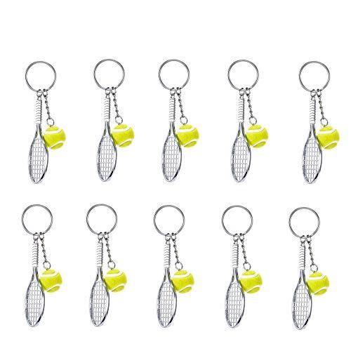 10 Stücke Schlüsselanhänger Metall Tennis Schläger Schlüsselring Keychain Mini Tennisball, für Herren, Damen, Mädchen, Sport-Liebhaber Geschenk, kreativer Schlüsselanhänger, Werbegeschenk