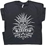 L - Mezcal T Shirt Vintage Tequila Tee Men Women Sugar Mescal Cool Skull Graphic Tijuana Mexico Dia De Los Muertos Margarita Black
