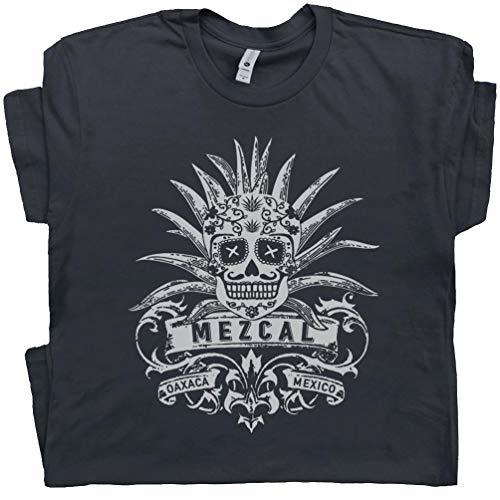 XL - Mezcal T Shirt Vintage Tequila Tee Sugar Mescal Skull Graphic Tijuana Mexico Dia De Los Muertos Margarita Mens Womens Black