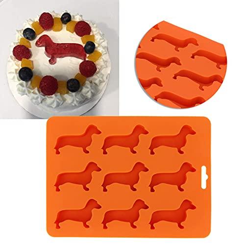 Bandejas para cubitos de hielo de 9 rejillas Molde para cubitos de hielo Lindo perro en forma de silicona reutilizable DIY Molde para hornear pasteles Bandeja cuadrada Enfriamiento rápido para whisky,