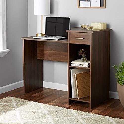 Mainstays Student Desk - Home Office Bedroom Furniture Indoor Desk - Easy Glide Accessory Drawer (Desk Only, Rodeo Oak) (Desk Only, Walnut)