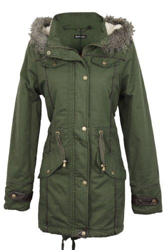 Envy Boutique Damesbont oversized met capuchon dames zeemeermin lijn militair parka mantel winterjas