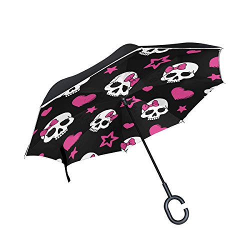 ALAZA Pink Heart And Skull Windproof Inverted Open Close Reverse Rain Umbrella Inside Out Quality Waterproof Parasol Upside Down Stick Shelter with Hook c Handle