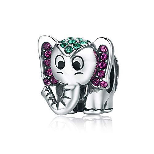 BEST LOVE encantos de Elefante 925 Regalos de cumpleaños de Plata esterlina Navidad Lindo Elefante Regalos para Mujeres Europeas Pulseras Collares