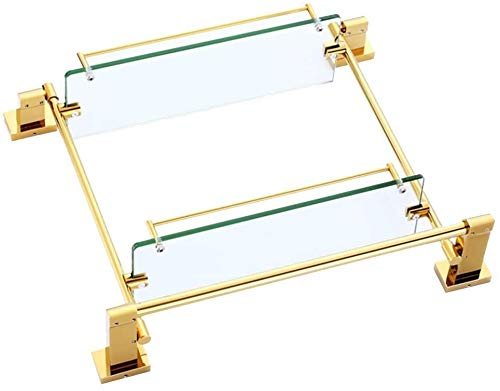 AINIYF Montado en la Pared del baño Plataforma de baño Ducha Organizador de Aluminio Espacio Rectangular Corte Libre Pegamento de Drenaje Torre Percha (Tamaño: 50x11.8x12.5cm)