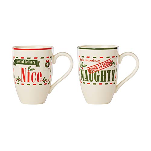 Lenox Post Office Naughty & Nice 2-Piece Mug Set, 1.75 LB, Red & Green