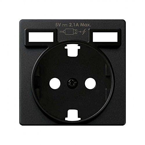 Tapa para enchufe Schuko, cargador doble USB Concept, 1 x 4 x 4 centímetros, color negro mate (referencia: 8200049-098)