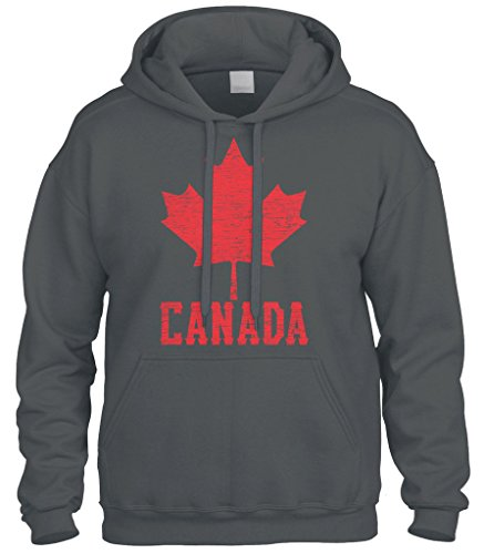 Cybertela Canadian Flag Canada Maple Leaf Sweatshirt Hoodie Hoody (Charcoal, Large)