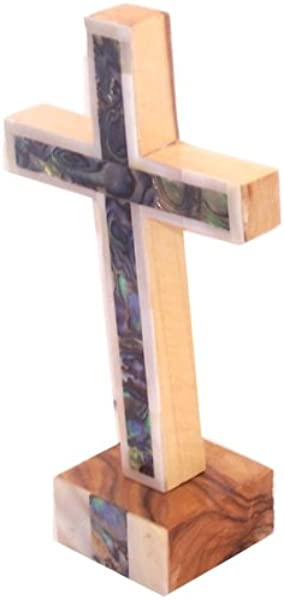 Cross With Mother Of Pearls Full Cover Olive Wood With Certificate 6 Inches