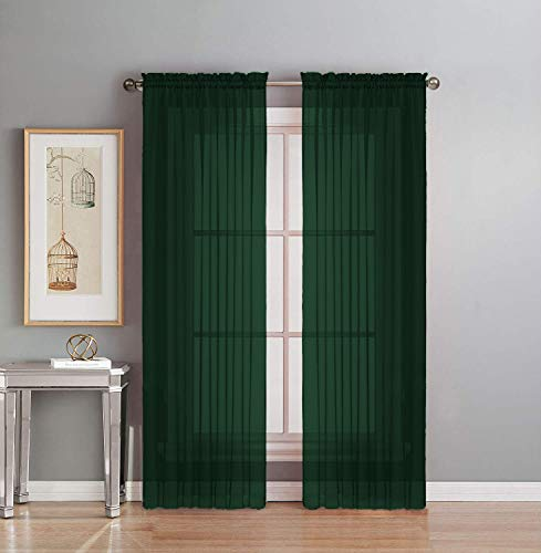 """Interior Trends 2 Piece Fully Stitched Sheer Voile Window Panel Curtain Drape Set (95"""" Long, Hunter Green)"""