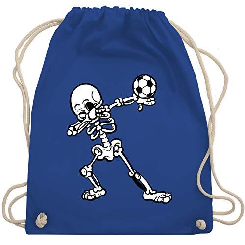 Shirtracer Fußball - Dabbendes Skelett mit Fussball - Unisize - Royalblau - turnbeutel fussball - WM110 - Turnbeutel und Stoffbeutel aus Baumwolle