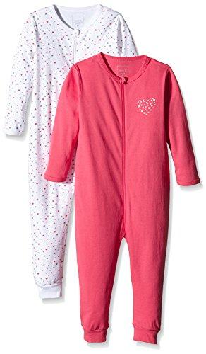 NAME IT Baby-Mädchen NITNIGHTSUIT ZIP M G NOOS Schlafstrampler, Mehrfarbig (Rouge Red), 104 (2er Pack)