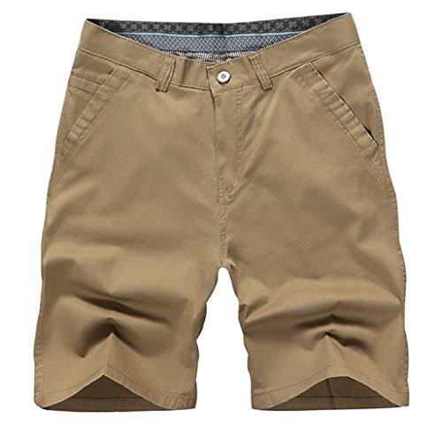 Short De Travail DéContracté pour Hommes Confort Coton, MéLange De Coton Lavé Mince Bouton ÉTé Grande Taille Cinq Pantalon Travail Porter