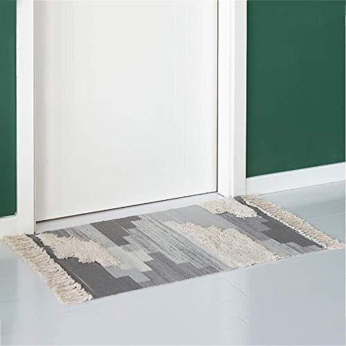 Dirgee Tuft algodón, impresión Tejida a Mano Tassel Alfombra gradiente Degradado shag lanzar alfombras para Suelo Lavabo para Sala de Estar Dormitorio Entrenamiento-Gris 60x130 cm (24x51 Pulgadas)