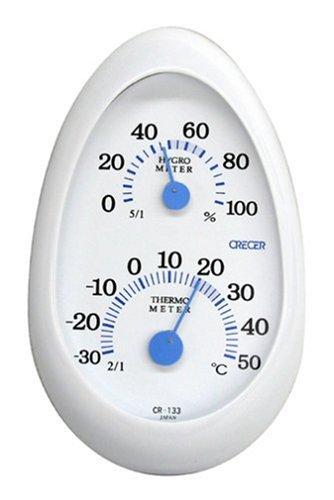 クレセル 温度計・湿度計 タマゴ ホワイト 【壁掛け・卓上両用】 CR-133W