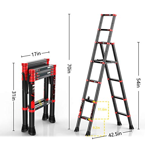 charaHOME Telescoping Ladder A-Frame Aluminum Extension Ladder Lightweight Portable Multi-Purpose Folding Ladder with Detachable Tool Tray, 330 Pound Load Capacity