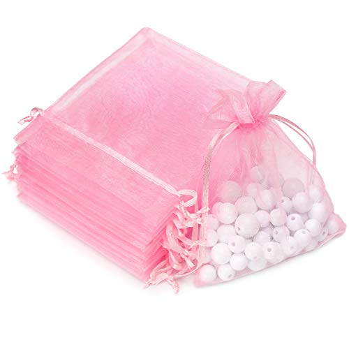 100pcs 3.6x4.8''(9x12cm) Organza Gift Bags, Drawstring Pouches Jewelry Party Wedding Favor Gift Bags,Candy Bags. (Pink)