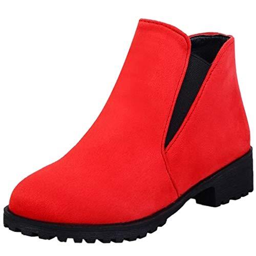 StyliShoes Damen Flach Stiefeletten Winter Kurzschaft Stiefel (Rot, 41 EU)