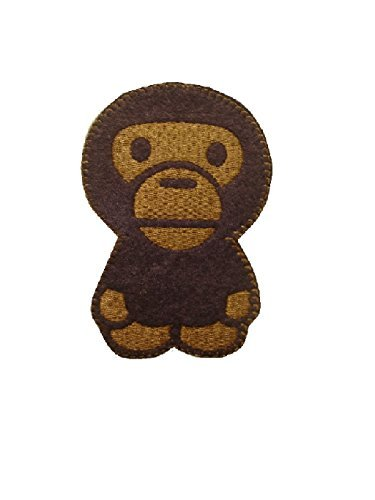 Monkey Iron On Patch Applique Fabric Motif Children Decal 4.8 x 3 inches (11 x 7.5 cm)