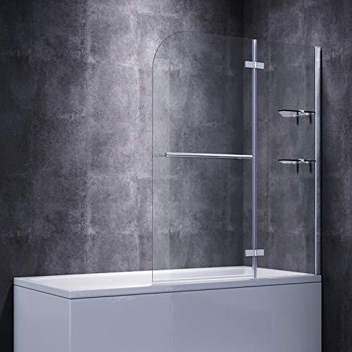 SONNI Duschwand für badewanne 100x140cm (BxH) mit Handtuchhalter + Eckregal,Duschwand Badewannenaufsatz, Duschtrennwand