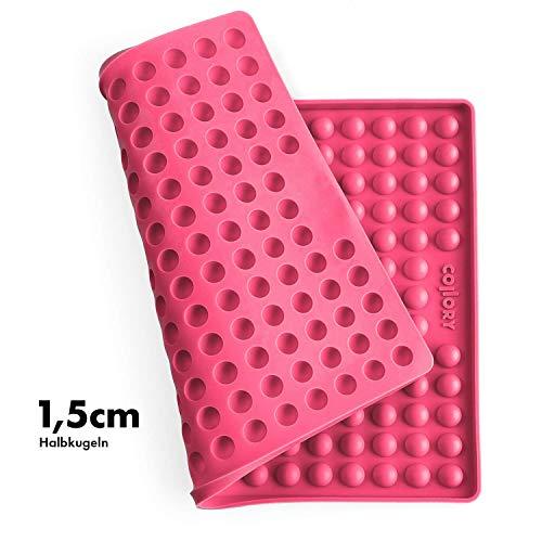 Collory Silikon Backmatte | 1.5cm Halbkugel Backform für Hundekekse Hundeleckerlies | Hitzebeständig 240°C | 40x29 | Lebensmittelecht (BPA-frei) | Pralinenform | Antihaftend … (Pink)
