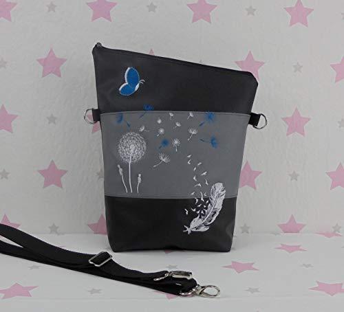 pinkeSterne ☆ Umhängetasche Handtasche Schultertasche Kunstleder Bestickt Stickerei Handmade FoldOver Grau Schwarz Türkis