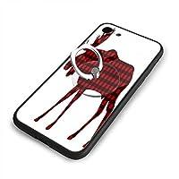 格子縞のバッファローiPhone7ケース/iPhone 8 ケース 4.7インチ 強化ガラス 耐衝撃 ガラスTPU バンパー薄型 携帯カバー 全面保護 リング付き 衝撃防止 スタンド機能 高級感 おしやれ 人気 かわいい