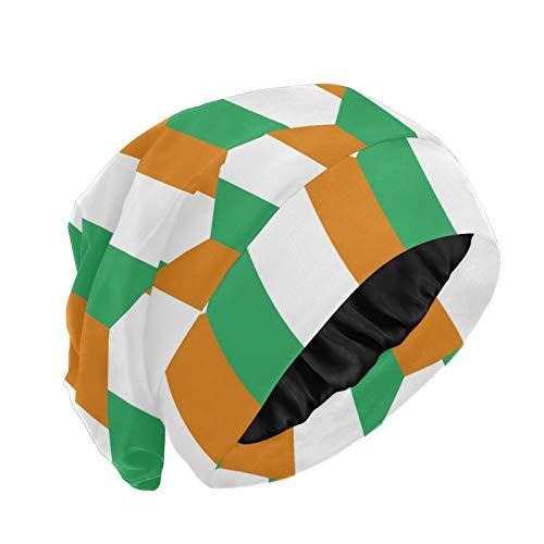 Magnesis Gorro de dormir con forro de satén de la bandera de Irlanda para las mujeres