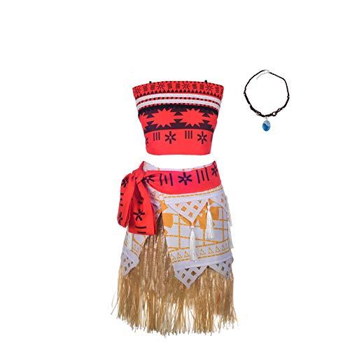 Lito Angels - Vestito Vaiana per Bambina, Costume Oceania con Collana, Abito da Festa di Halloween, Taglia 5-6 Anni