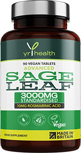 Sage Tablets 3000mg High Strength for Hot Flushes, Night Sweats and Menopause Symptoms - 90 Vegan Tablets not Capsules - Standardised 10mg Rosmarinic Acid - Made in The UK by YrHealth