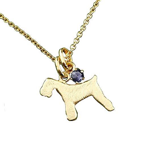 [アトラス] Atrus ネックレス メンズ 10金 イエローゴールドk10 アイオライト シュナウザー テリア系 犬 ペンダント トップ 宝石 チェーン(sv925イエローメッキ)
