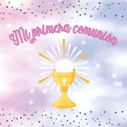 Libro de firmas y huellas mi primera comunion: Libro de recuerdos comunión con árbol de huellas personalizado - Regalo o detalle comunión niña. Español