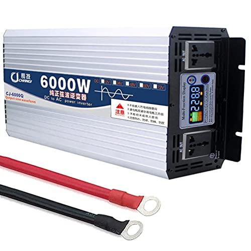 Convertitore Di Tensione 6000W 7000W 8000W Inverter A Onda Sinusoidale Pura 12V/24V/48V/60V A 110V/220V Inverter Per Auto Con Display A Colori Intelligente A 2 Prese Per Auto,Viaggi.,6000W-12Vto110V