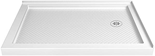 DreamLine SlimLine 34 in. D x 48 in. W x 2 3/4 in. H Right Drain Double Threshold Shower Base in White, DLT-1034482