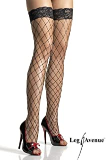 Leg Avenue Women's Lace Top Fence Fishnet Thigh Highs