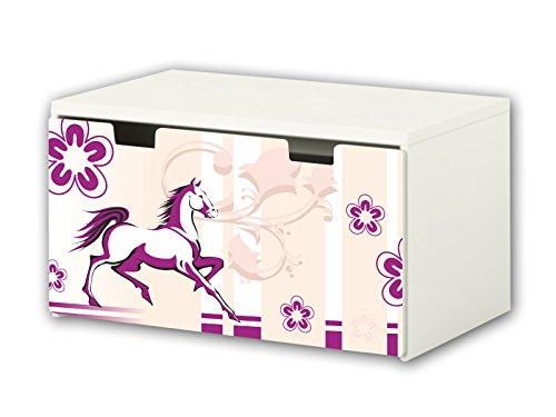 Caballo pegatina | pegatinas para muebles | BT14 | adecuado para el arcón de banco STUVA de IKEA para niños (90 x 50 cm) | Perfecto como arcón de juguetes y banco | (mueble no incluido) STIKKI