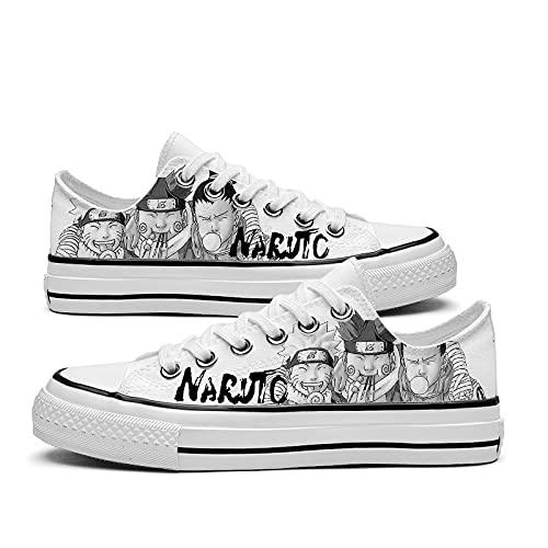 JPTYJ Naruto Uchiha Sasuke Zapatos de Lona Unisex Zapatillas Zapatos con Cordones de Anime B-41