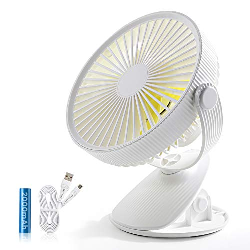 SMARTDEVIL Portable Desk Fan, Lower Noise, USB Rechargeable Battery Operated Fan with 3 Speeds, 2000Mah Battery for Home, Offical, Dormitory,Desktop,Table Fans,360 Degree Adjustment (White)