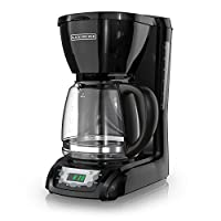 """12-cup coffeemaker with soft-touch digital control panel Programmable clock/timer; auto-brew option; """"on"""" indicator light Brew-pause function; nonstick warming plate; 2-hour auto shut-off for safety Water-level indicator; glass carafe and removable f..."""