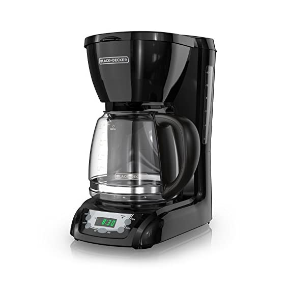 BLACK+DECKER DLX1050B 12-cup Programmable Coffee Maker with glass carafe, Black 1 QuickTouch Programming - Easily program the 24-hour auto brew feature so you can wake up to a fresh pot of coffee Digital Controls with Rubberized Feel - Large, rubberized buttons give you full control of the coffeemaker, and the easy-read screen displays the clock, brew time, and programming options Sneak-a-Cup - This feature temporarily stops the flow of coffee so you can pour your first cup before brewing ends without making a mess