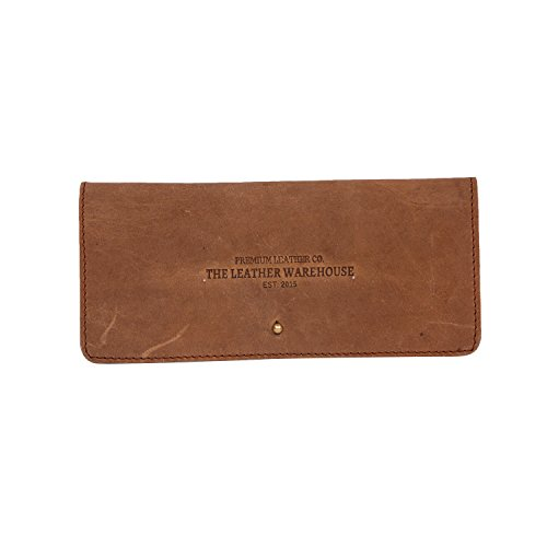THE LEATHER WAREHOUSE Ledertasche mit Fächern für Kreditkarten für Sonnenbrillen und Brillen 7,0 x 3,1 inch (17,5 x 7,75 cm); Lx H Fall