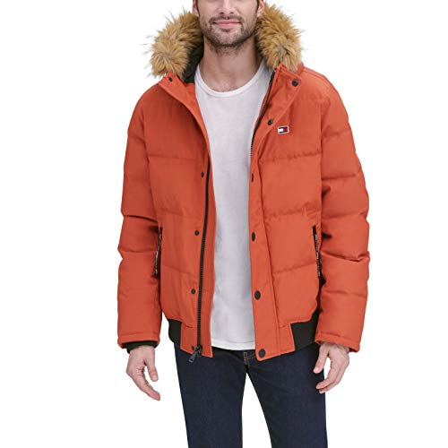 Tommy Hilfiger Men's Quilted Arctic Cloth Snorkel Bomber Jacket with Removable Hood (Standard and Big & Tall), Orange, Medium