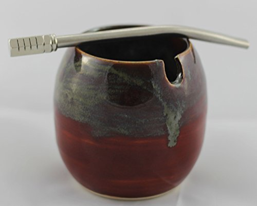 Ceramic Mate Gourd with Side Hole for Mate Straw aka Yerba Mate Cup Red Mixed Swirl with Optional Bombilla (Metal Yerba Mate Straw)